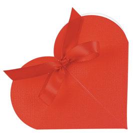 Kleine Herz Geschenkschachtel rot, 10 Stück - 6,5x1,5 cm