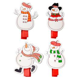 """4 Weihnachts-Holzklammern """"Snowman"""""""