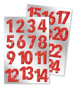 Aufkleber Adventskalender-Zahlen Glitter rot