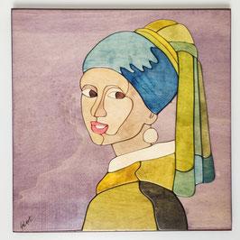 Dama con l'orecchino di perla 30x30cm