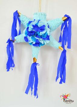Blumige mini Stern-Piñata mit 5 Spitzen in Blau
