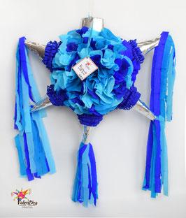 Blumige Stern-Piñata in Silber/Blau