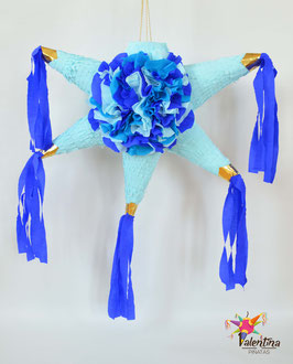 Blumige Stern-Piñata in Blau