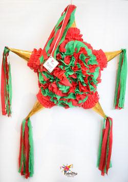 Blumige Stern-Piñata mit 5 Spitzen in Gold/Rot/Grün