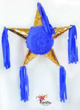 Gold/Blau Stern-Piñata mit 5 Spitzen