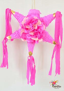 Blumige mini Stern-Piñata mit 5 Spitzen in Pink