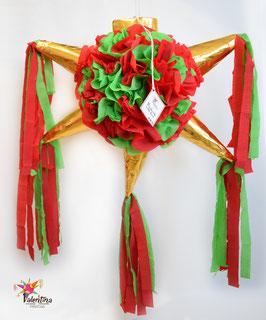Blumige Stern-Piñata in Rot/Grün/Gold
