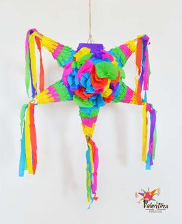 Blumige mini Stern-Piñata mit 5 Spitzen
