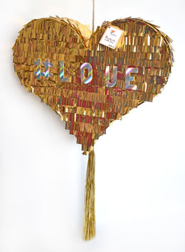 Fancy Heart-Piñata in Metallic Gold