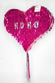 Fancy Heart-Piñata in Metallic Pink
