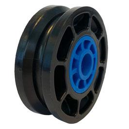 Seilrolle, Durchmesser Ø 52 mm, für Seile bis zu Ø 4 mm mit Gleitlagereinsätzen