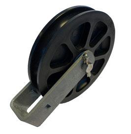 Seilrolle Ø 100 mm für Seile bis Ø 9 mm mit Gleitlagereinsätzen und Haltebügel