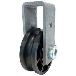 Seilrolle, Durchmesser Ø 52 mm, für Seile bis zu Ø 8 mm mit Haltebügel