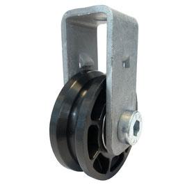 Seilrolle, Durchmesser Ø 52 mm, für Seile bis zu Ø 4 mm mit Haltebügel