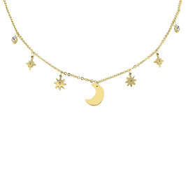 "Necklace ""Moon & Stars Choker"""