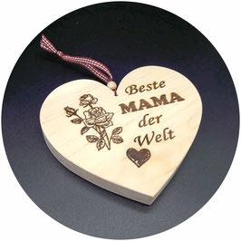 """Holz Herz """"Beste Mama der Welt - mit Rosen und Herz"""" Kategorie: Beste Mama, Bester Papa..., 15x13cm"""