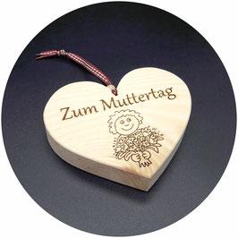 """Holz Herz Zirbe """"Zum Muttertag mit Kind und Blumenstrauss"""" Kategorie: Muttertag, 13x11cm"""