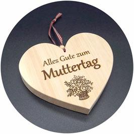 """Holz Herz Zirbe """"Alles Gute zum Muttertag mit Blumenvase"""" Kategorie: Muttertag, 15x13cm"""
