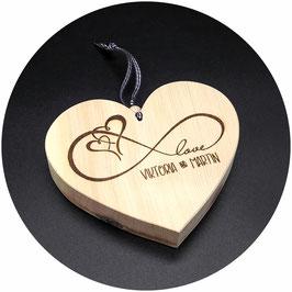 """Holz Herz """"Love, Endlosschleife, 2 Herzen"""" Kategorie: Liebe 13x11cm"""