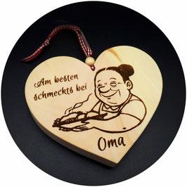 "Holz Herz ""Am besten schmeckts bei Oma"" Kategorie: Beste Mama, Bester Papa..., 13x11cm"