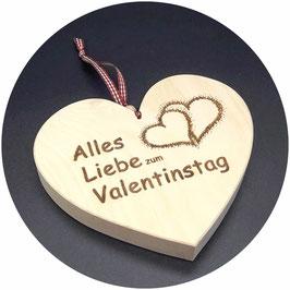 """Holz Herz Zirbe """"Alles Liebe zum Valentinstag Doppelherz rechts"""" Kategorie: Valentinstag, 15x13cm"""