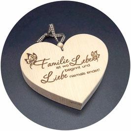 """Zirben Holz Herz """"Familie ist wo Leben beginnt, und Liebe niemals endet"""" Kategorie: Familie, 13x11cm"""