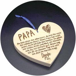 """Holz Herz """"Papa, du bist einer der alles kann..."""""""" Kategorie: Beste Mama, Bester Papa..., 15x13cm"""