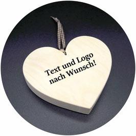 """Zirben Holz Herz """"Firmenlogo - Gastgeschenke"""" Ihr persönliches Herz mit Laser Gravur nach Wunsch! 13x11cm"""