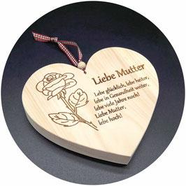 """Holz Herz """"Liebe Mutter Lebe glücklich..."""" Kategorie: Muttertag, 15x13cm"""