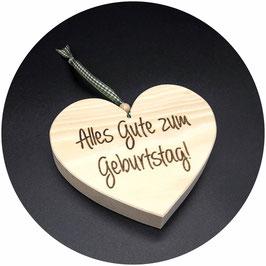 "Holz Herz Zirbe ""Alles Gute zum Geburtstag"" als Geburtstagsgeschenk, Kategorie: Geburtstag, 13x11cm"
