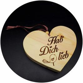 """Holz Herz """"Hab Dich lieb, mit Vogel"""" Kategorie: Liebe 13x11cm"""