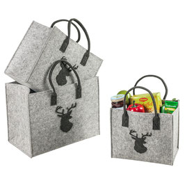 Einkaufs Tasche Filz Hirschkopf