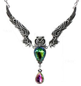 Collana Fantasy: Gufo con cristalli colorati