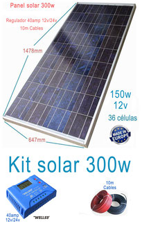 Kit Solar 12v 300w Hora Regulador 40a con LCD