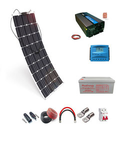 Kit 12V Panel Solar Flexible 150W Inversor con mando 1000W
