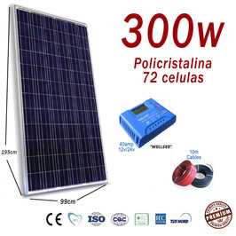 Kit Solar 24v 300w Hora Regulador 40a con LCD