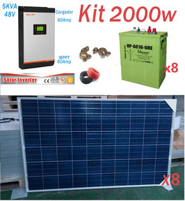 Kit Solar 48v 2000w Hora Inversor 5000va MPPT 60A Bateria UP-GC16-6RE 600ah 6v