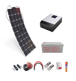 Kit 12V Panel Solar Flexible 150W Inversor Multifuncion 1000VA