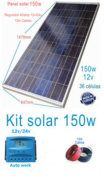 Kit Solar 12v 150w Hora Regulador 20a con LCD