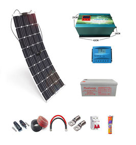 Kit 12V Panel Solar Flexible 150W Inversor 2000w con Cargador 35A