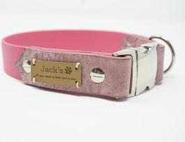 Halsband aus Biothane & Fettleder pink