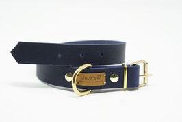 Halsband & Leine aus Fettleder dunkelblau