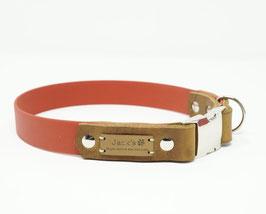 Halsband & Leine aus Biothane kombiniert mit Fettleder rot/cognac