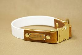 Halsband & Leine aus Biothane kombiniert mit Fettleder weiß/cognac