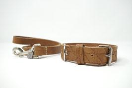 LAGERABVERKAUFSET: Halsband & Leine Büffelleder Größe S/M
