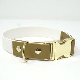 Halsband aus Biothane weiß/gold