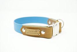 Halsband & Leine aus Biothane kombiniert mit Fettleder blau/cognac
