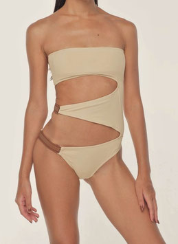 CREAM BARE SIDE BELT MONOKINI