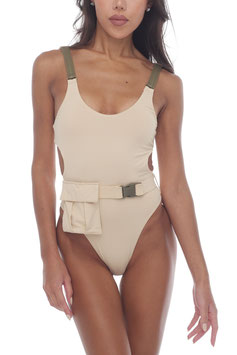 CREAM  SAFARI BELT POCKET MONOKINI