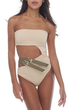 CREAM BARE KHAKI BELT MONOKINI